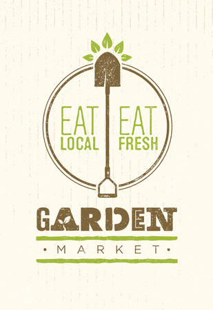 Garden Market Food Concept. Eco Local Food Creative Sign Vector Sign Design On Rough Background Illustration