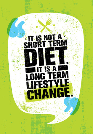 It Is Not Short Time Diet. It Is A Long Term Lifestyle Change. Nutrition Motivation Quote Illustration
