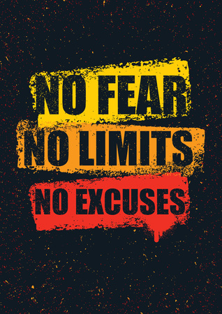 No Fear. No Limits. No Excuses. Creative Inspiring Motivation Quote Template. Vector Typography Banner Design Concept