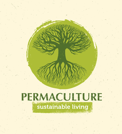 permaculture: Permaculture Sustainable Living Creative Vector Design Element Concept. Old Tree With Roots Inside Rough Circle Illustration