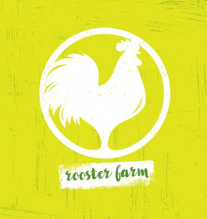 Organic Farm Fresh Healthy Food Eco Vector Concept on Stained Background. Rooster Icon Inside Circle Sign