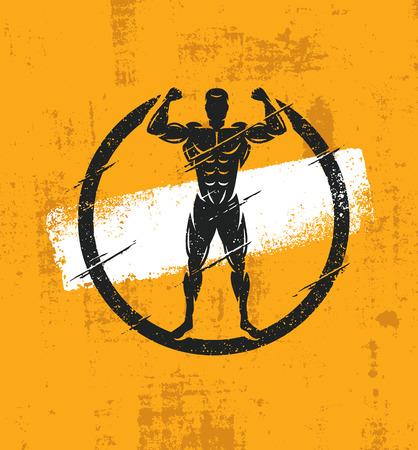 Illustrazione approssimativa di allenamento di forma fisica dell'atleta del forte uomo. Concetto creativo del manifesto di lerciume di vettore