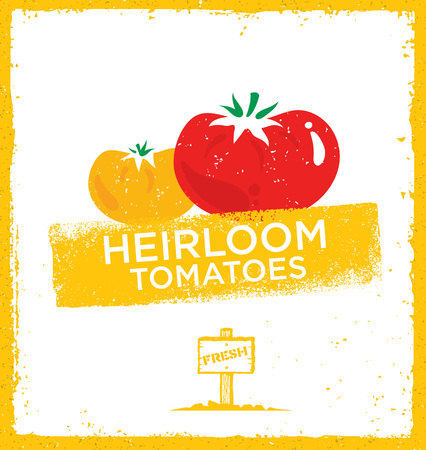 Fresh Home Grown Heirloom Tomatoes. Creative Vector Eco Green Design Element. Organic Bio Concept