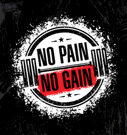 No Pain No Gain. Inspiring Workout and Fitness Gym Motivation Quote Illustration. Çizim