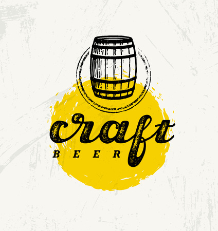 ale: Craft Beer Brewery Artisan Creative Vector Stamp Sign Concept. Rough Handmade Alcohol Banner. Menu Page Design