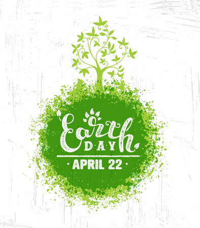 Happy Earth Day Eco Sustinble Design Element. Vector Rough Banner Concept On Grunge Background Çizim