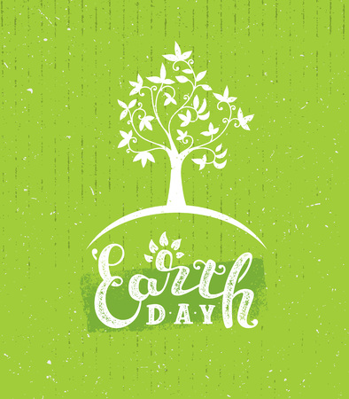 Happy Earth Day Eco Sustinble Design Element. Vector Rough Banner Concept On Grunge Background Ilustrace