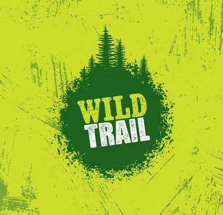Outdoor Adventure Trail Creative Vector Design Concept. Extreme Activity Event Sign On Grunge Background