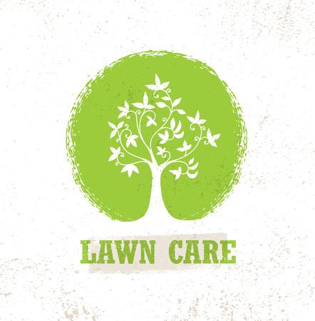 Cuidado del césped Creative Organic Vector Sign Concept. Icono de árbol ecológico en fondo crudo Foto de archivo - 80446396