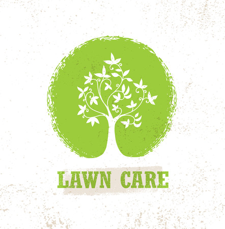 Lawn Care Creative Organic Vector Sign Concept. Eco Tree Icon On Raw Background Ilustracja