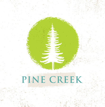 Pine Creek Eco Yoga Retreat Rough Sign Concept On Rough Background