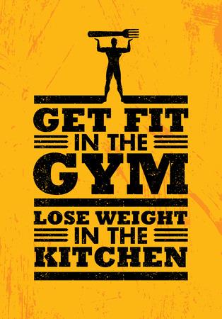 ジムでエクササイズを台所で重量を失います。スポーツ トレーニング栄養タイポグラフィ ポスター ベクトル図コンセプト