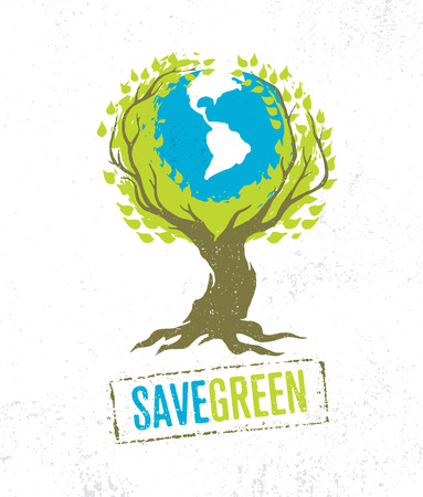 Live Think Green Recycle Reduce Reuse Vector Eco Poster Concept on Grunge Organic Background.