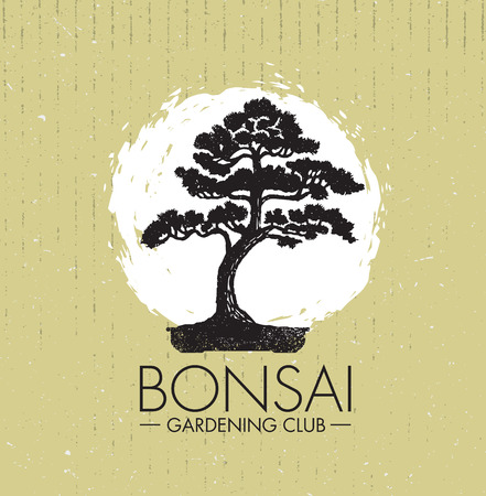 Bonsai Gardening club creative design concept.
