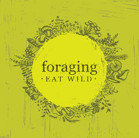 Foraging Wild Food Gathering Nature Friendly Sign Concept. Eco Friendly Nutrition Vector Design Element With Sketch Style Herbs, Berries and Mushrooms Illustration