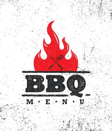 Weinlese-im Freienlebensmittel-Grill BBQ-grafisches Vektor-Gestaltungselement