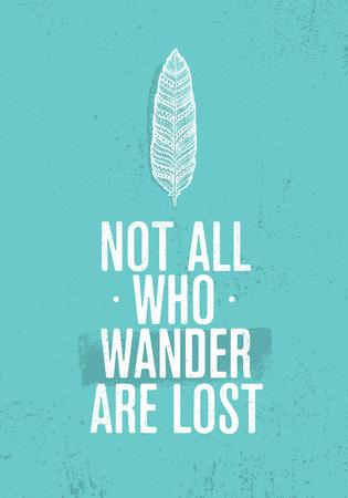 さまよう者ないすべては失われます。サマーアド ベンチャーの創造的な刺激の概念。部族の羽イラスト  イラスト・ベクター素材