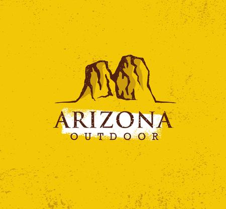 アリゾナアウトドアアドベンチャーマウンテンハイキングクリエイティブサインのコンセプト。ベクトルアクティブエクストリームデザイン