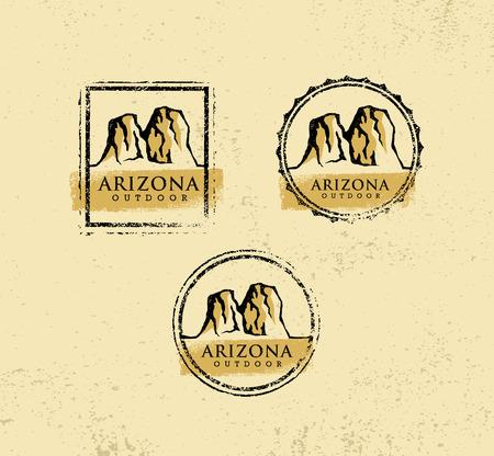 アリゾナ屋外冒険山の創造的な記号概念をハイキングします。ベクトル アクティブな極端なデザイン