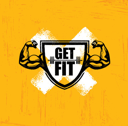 signo pesos: Get Fit. Workout and Fitness Gym Design Element Concept. Creative Custom Vector Sign On Grunge Background.