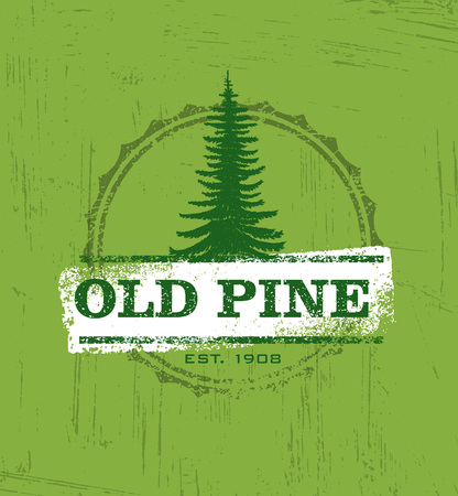 Old Pine Creative Rustic Stamps For Custom Interior Workshop Company. Vintage Artisan Stock Vector Element