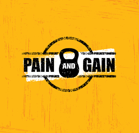 muscle gain: Pain And Gain. Workout and Fitness Gym Design Element Concept. Creative Custom Sport Vector Sign.