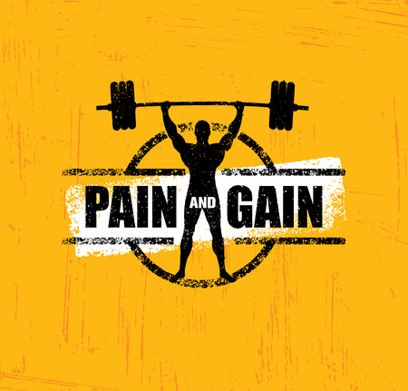 Pain And Gain. Workout and Fitness Gym Design Element Concept. Creative Custom Sport Vector Sign.