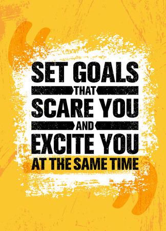 당신을 놀라게하고 같은 시간에 당신을 자극하는 목표를 설정하십시오. 영감을주는 창조적 동기 부여 포스터 템플릿을 인용하십시오.