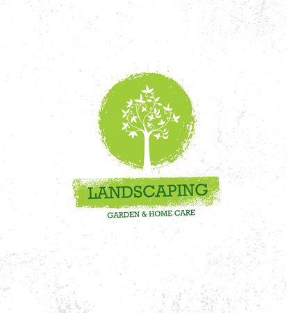 Landscaping Garden And Home Care Creative Organic Vector Old Oak Tree Sign Concept On Rough Grunge Background.