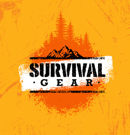 Survival Gear Extreme Outdoor Adventure Creative Design Element Concept On Rough Stained Background.
