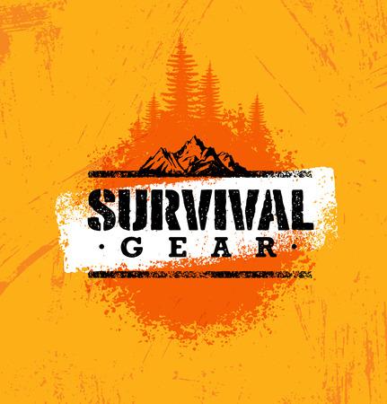 supervivencia de engranaje de supervivencia al aire libre aventura concepto de diseño creativo de procesos en el fondo manchado . Ilustración de vector