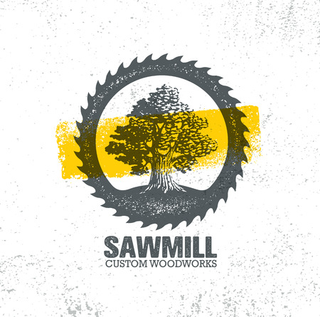 Sawmill Reclaimed Wood Artisan Carpentry Creative Rough Design Element On Grunge Background. Old Oak Tree.