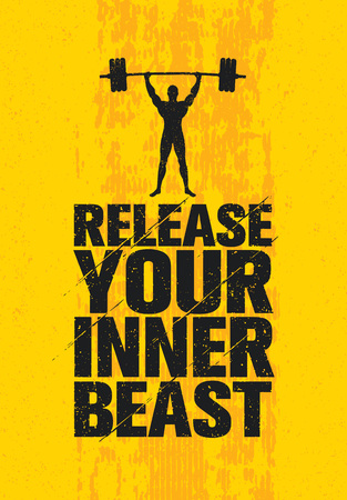 Release Your Inner Beast. Workout and Fitness Gym Design Element Concept. Creative Custom Vector Sign. Ilustração