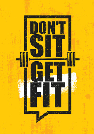 Workout and fitness gym design element concept on yellow grunge background.