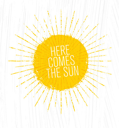 ここに太陽が来る。グランジの背景に気まぐれなラフ夏のイラスト。