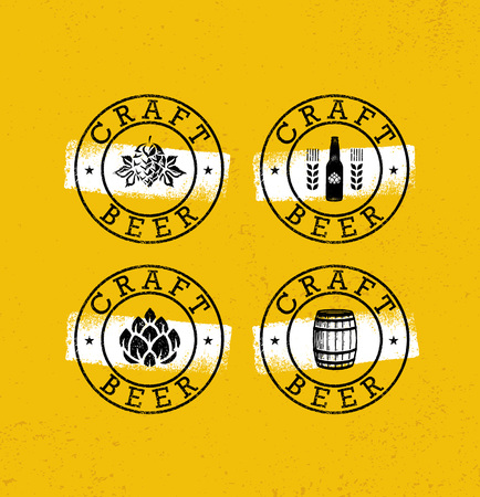 Handmade Craft Beer Rough Stamps Set. Drink Local Creative Vector Concept. Brewery Design Elements On Grunge Background