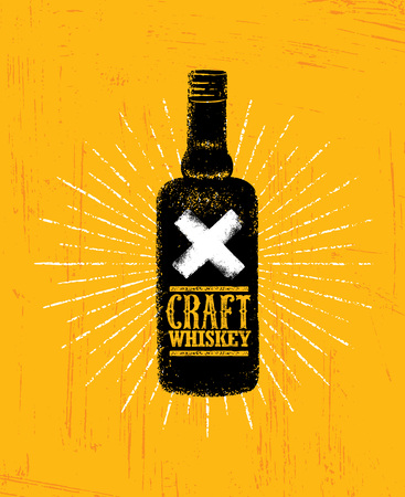 Craft Whiskey Local Spirit Alcohol Creative Vector Sign Concept. Rough Handmade Alcohol Banner. Artisan Menu Page. Ilustração