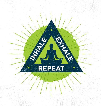 吸い込みます。息を吐きます。手順を繰り返します。スパ ヨガ瞑想リトリート有機性設計要素の概念 写真素材 - 89878975