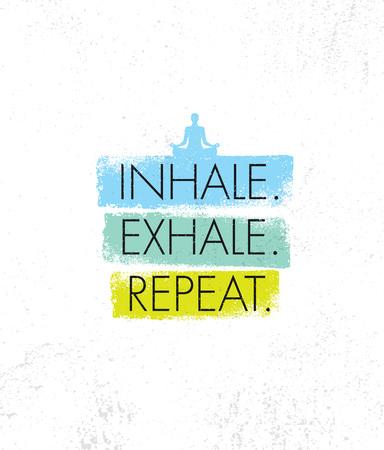 吸い込みます。息を吐きます。手順を繰り返します。スパ ヨガ瞑想リトリート有機性設計要素概念。  イラスト・ベクター素材