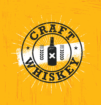 Craft Whiskey Local Spirit Alcohol Creative Vector Sign Concept. Rough Handmade Alcohol Banner. Artisan Menu Page Design Element. Illustration