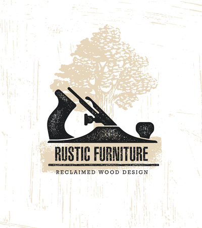 Hand Plane Custom Rustic Furniture Wood Works Interior Design Stamp Collection. Reclaimed Wood Ilustracja