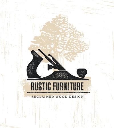 Hand Plane Custom Rustic Furniture Wood Works Interior Design Stamp Collection. Reclaimed Wood Illustration