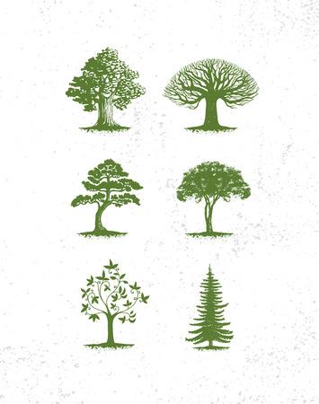 Grote verzameling boomillustraties, pijnbomen, groenblijvende bomen, gras en andere soorten bomen Stock Illustratie