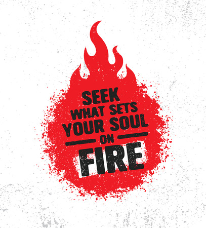 Seek What Sets Your Soul On Fire. Inspiring Creative Motivation Quote Poster Template. Vector Typography Banner Design