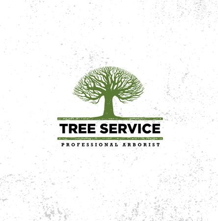 Berufs-Baumpfleger Tree Care Service Organic Eco-Zeichen-Konzept. Landschaftsgestaltung der Design-rohen Vektor-Illustration auf beunruhigtem Wand-Hintergrund Standard-Bild - 93544438