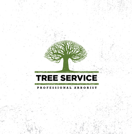 Professional Arborist Tree Care Service Organic Eco Sign Concept. Landscaping Design Raw Vector Illustration On Distressed Wall Background Vettoriali