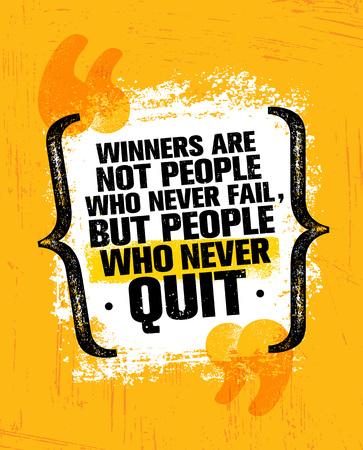 Winnaars zijn niet degenen die nooit falen, maar mensen die nooit stoppen. Inspirerende creatieve motivatie offerte Poster sjabloon Stock Illustratie