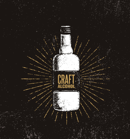 Craft Alcohol. Brewery Artisan Creative Vector Sign Concept. Rough Handmade Alcohol Bottle Banner. Menu Page Design