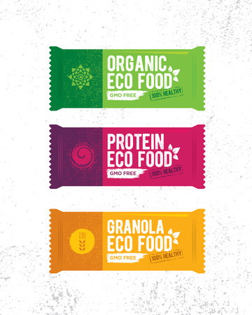 Healthy Organic Snack Bar Illustration. Raw Eco Food Vector Design Concert On Grunge Rough Background