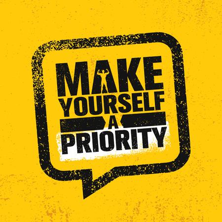Maak jezelf een prioriteit. Training en Fitness Gym Sterk ontwerpelementconcept. Sport motivatie citaat. Ruwe Vector Stockfoto - 95446432